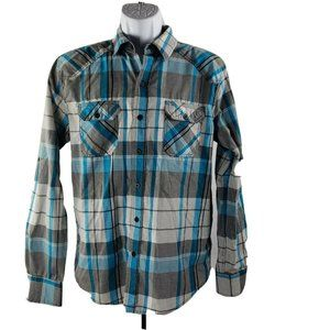 Carbon Long-Sleeve Button-Front Western Shirt M